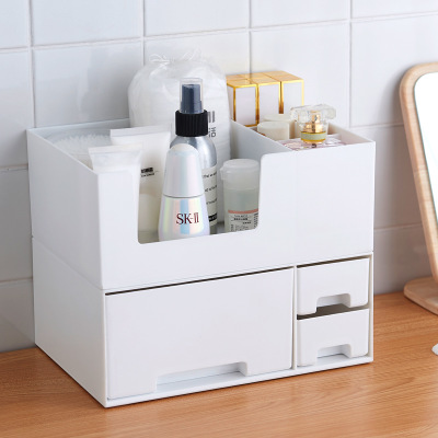 Plastic Makeup Organizer Two-Layers Separated Box Cosmetic Organizer Makeup Box Lipstick Makeup Storage Bathroom Table Organizer