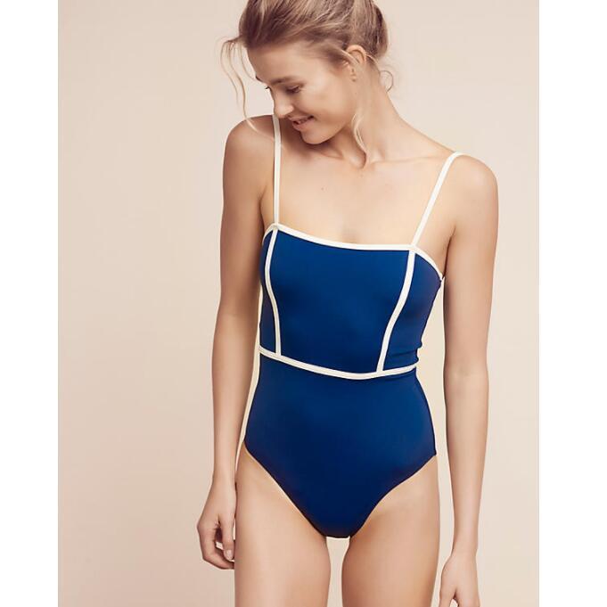 ZMTREE One Piece Swimsuit Women Bathing Suit Patchwork Swimwear Blue Bodysuit Beach Wear 2017 Monokini Maillot De Bain Femme XL