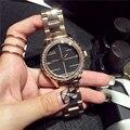 Известный Бренд Часы Женщины Дамы Кристалл Алмаза Кварцевые часы Роскоши Розового Золота Наручные Часы Для Женщин Relojes Mujer 2016