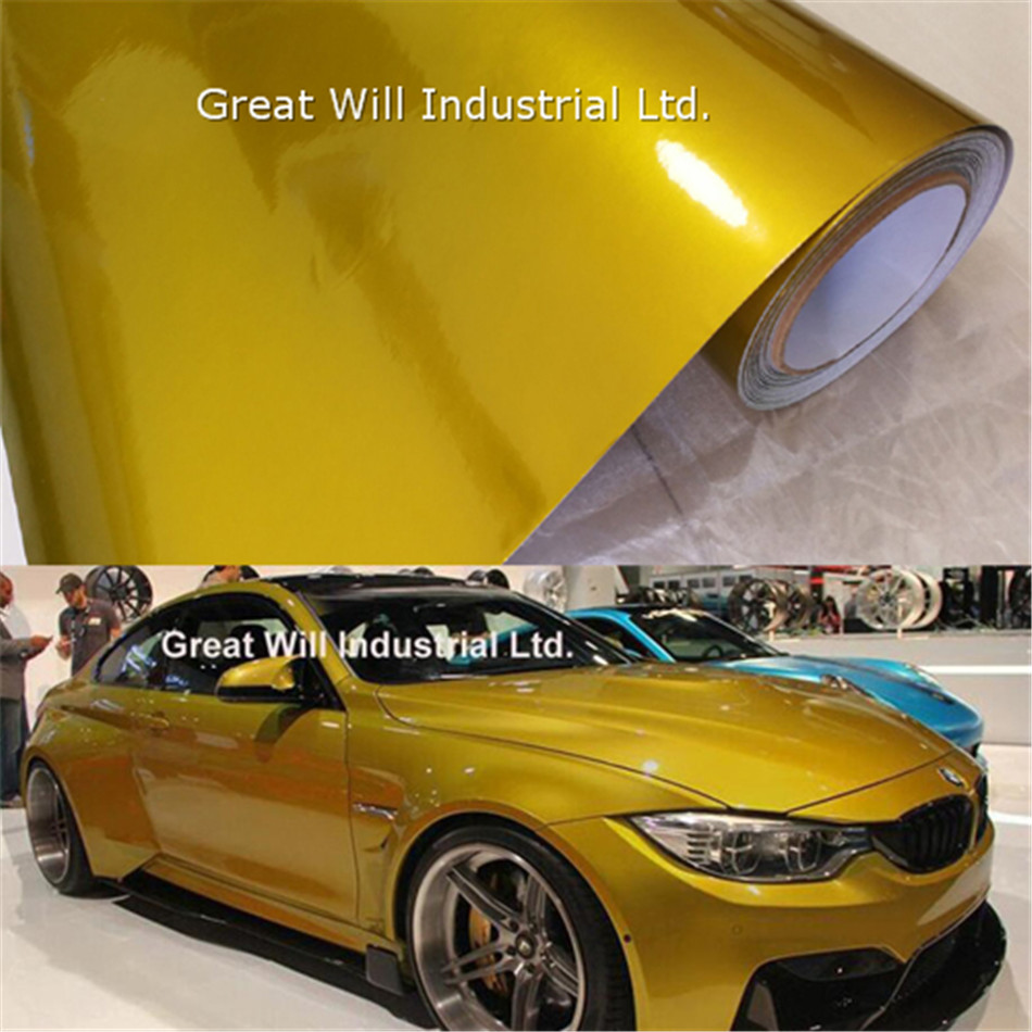 Glossy Metallic Yellow Gold Vinyl Wrap Air Release Full Car Cover Candy Yellow Car Styling Gloss Wrapping Size 1.52*20M/Roll