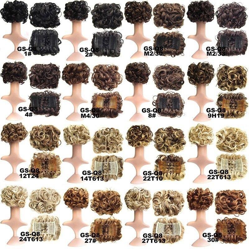 Women Curly Chignon Plastic Comb Hair Extension Hairpiece wig Clip In Big Hair Bun Claws pin crown tiara Hair accessoires