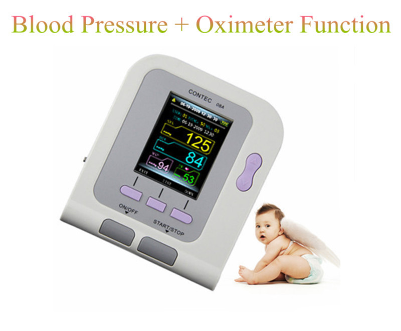 Digital Arm Infant Blood Pressure Monitor 08A + 6-11cm Cuff + SPO2 Oximeter Probe,Sphygmomanometer BP Monitor for Baby infant spo2 probe for contec brand digital blood pressure monitor bp moniter contec08a 08c