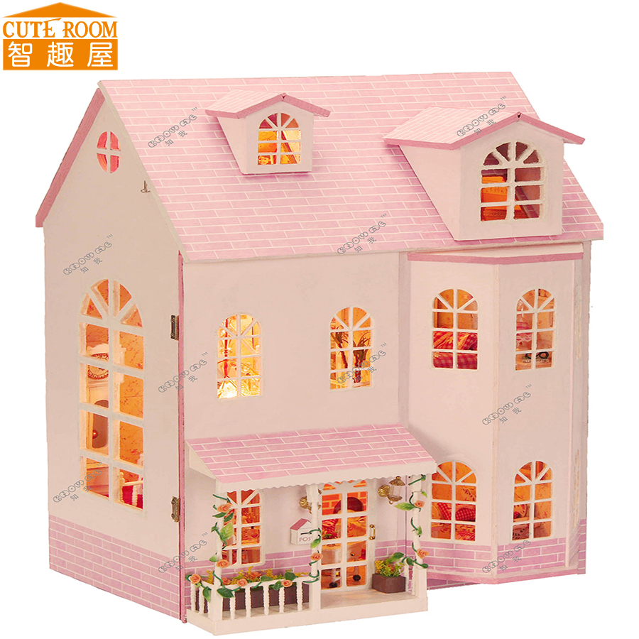 Assemble DIY Doll House Toy Wooden Miniatura Doll Houses Miniature Dollhouse toys With Furniture LED Lights Birthday Gift 13009 large size diy wooden miniatura doll house with light music furniture handmade 3d miniature dollhouse toys wedding gits
