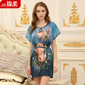 Nightgown print sleepwear slim sexy sleepwear lounge sleepwear female