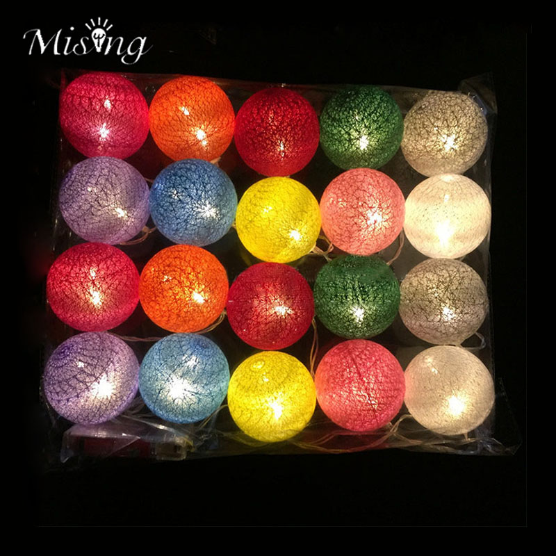 Mising 3Meters 20LED Colorful Cotton Ball String Lights Outdoor Garden Decor Fairy Light for Festival Christmas Party Decoration