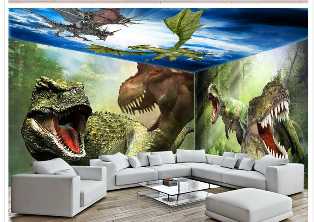 Home Decoration Jurassic Park Dinosaur Theme 3d Customized Wallpaper Pastoral Living WallpaperChina