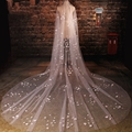 Hot Sale Cut Edge Covered Handmade Flowers Pearls Tulle One-layer Wedding Veils velo novia Bridal Veil