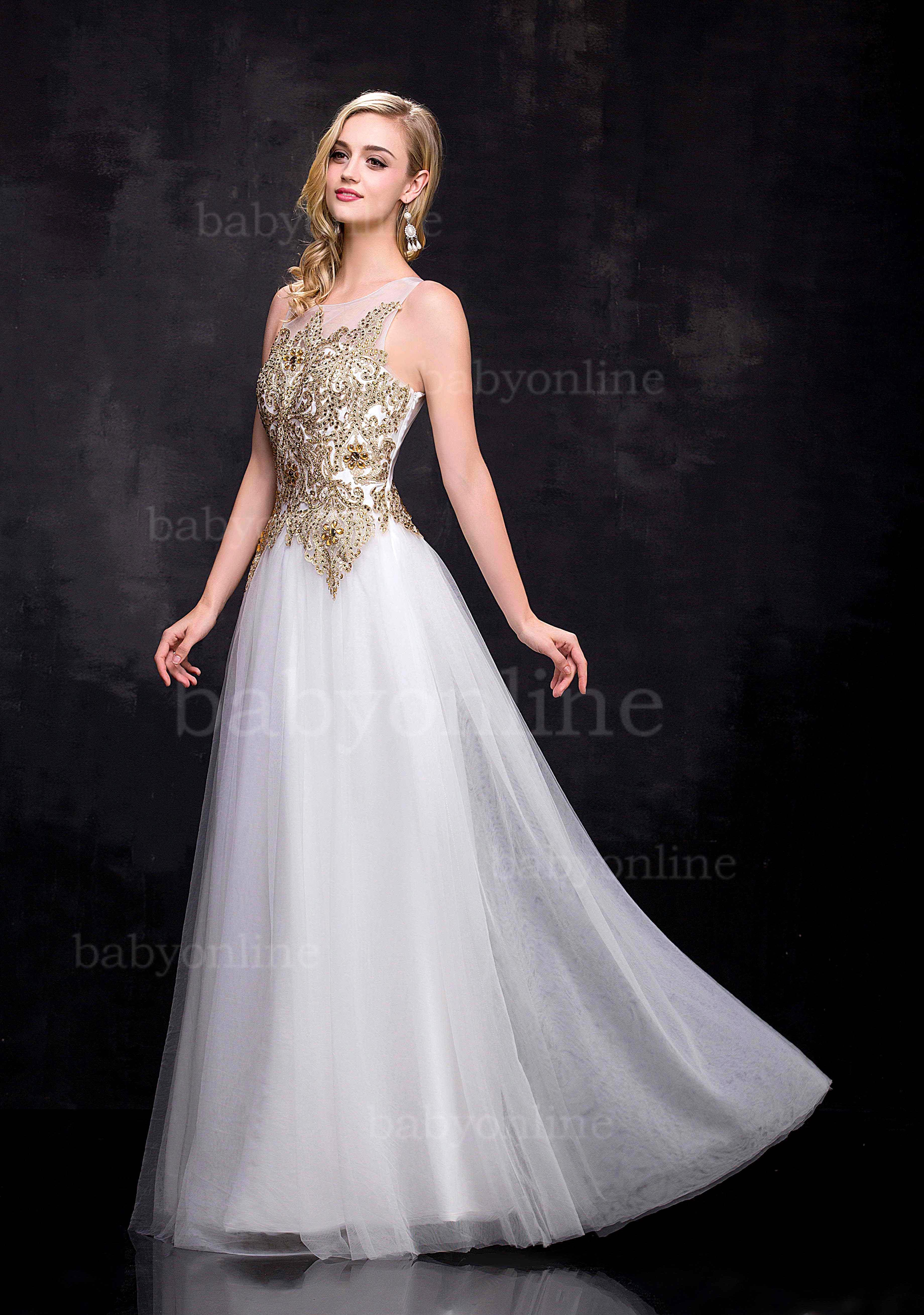 Wedding Gold And White Prom Dresses aliexpress com buy 100 real sample dress white prom 2015 a line gold lace beaded sheer open back abendkleider f