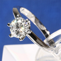 1 Carat ct No Less Than GH Color Engagement Wedding Lab Grown Moissanite Diamond Ring Solid 9K White Gold For Women