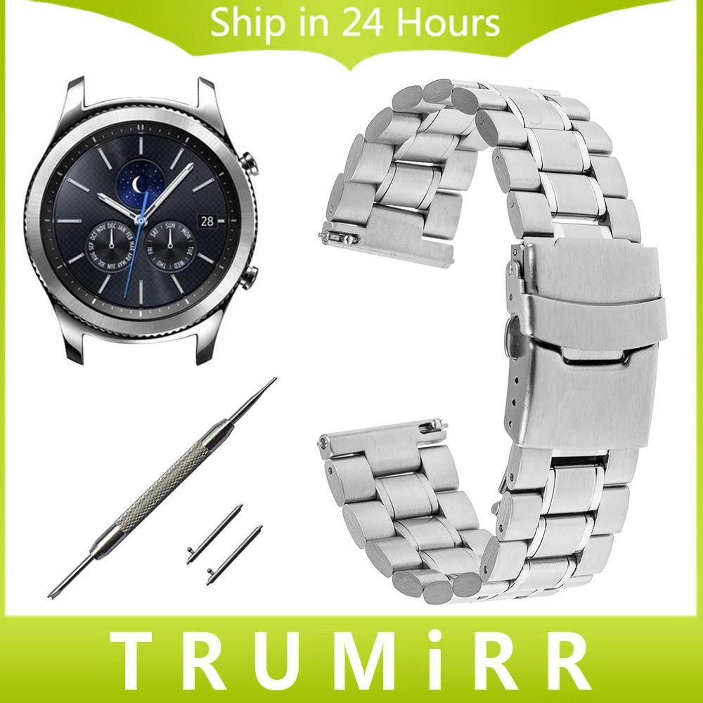 Prix pour 22mm libération rapide en acier inoxydable bande de montre pour samsung gear s3 classique frontière garmin fenix chronos fermoir de sécurité dragonne