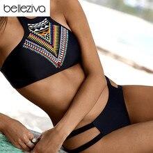 Belleziva New Sexy Women Bikinis Set Women Push Up High Neck Design Bikini Slim Bottom Geometry Bathing Suit Beach Swimwear