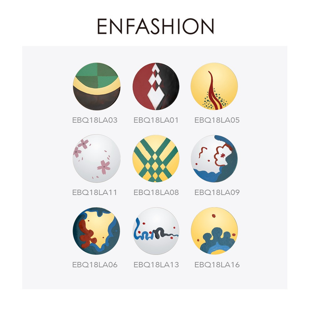 Enfashion Lacquer Art Serie Hand Painted Stud Earrings Stainless Steel Big Circle Earings For Women Fashion