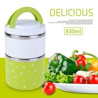 930ML 2 Layers Portable Lunch Box Cute Leak Proof Stainless Steel Thermal Picnic Food Storage Container