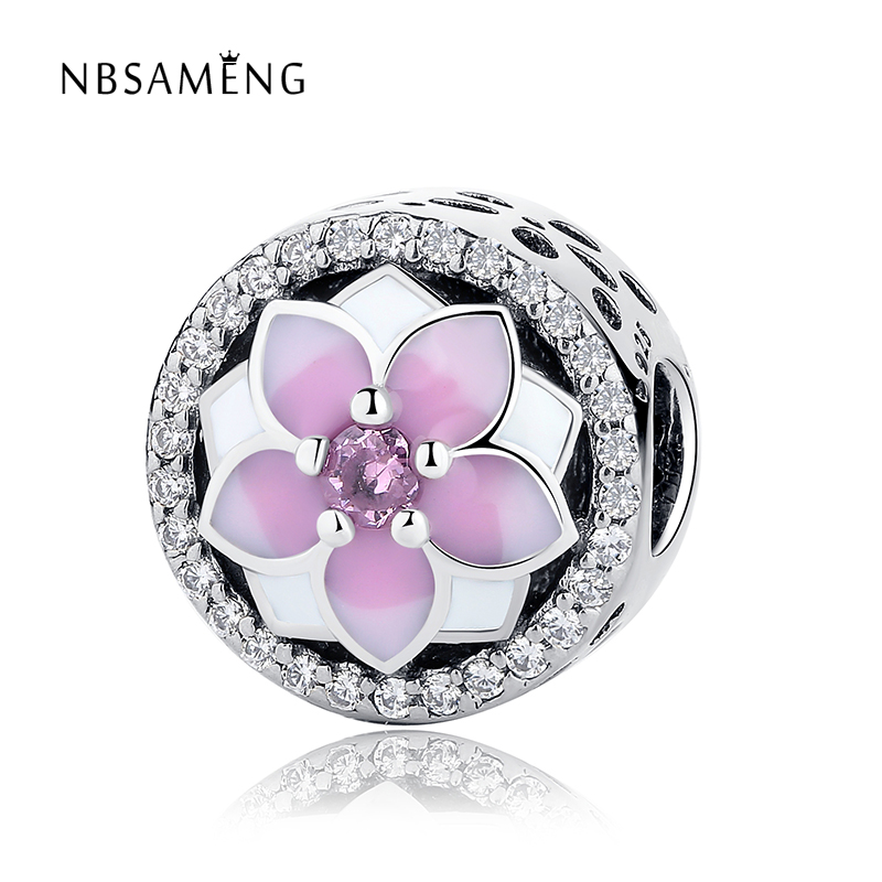 High Quality 925 Silver Magnolia Bloom Charm Beads Pink CZ Fit Original Pandora Charm Bracelet Authentic Jewelry Gift