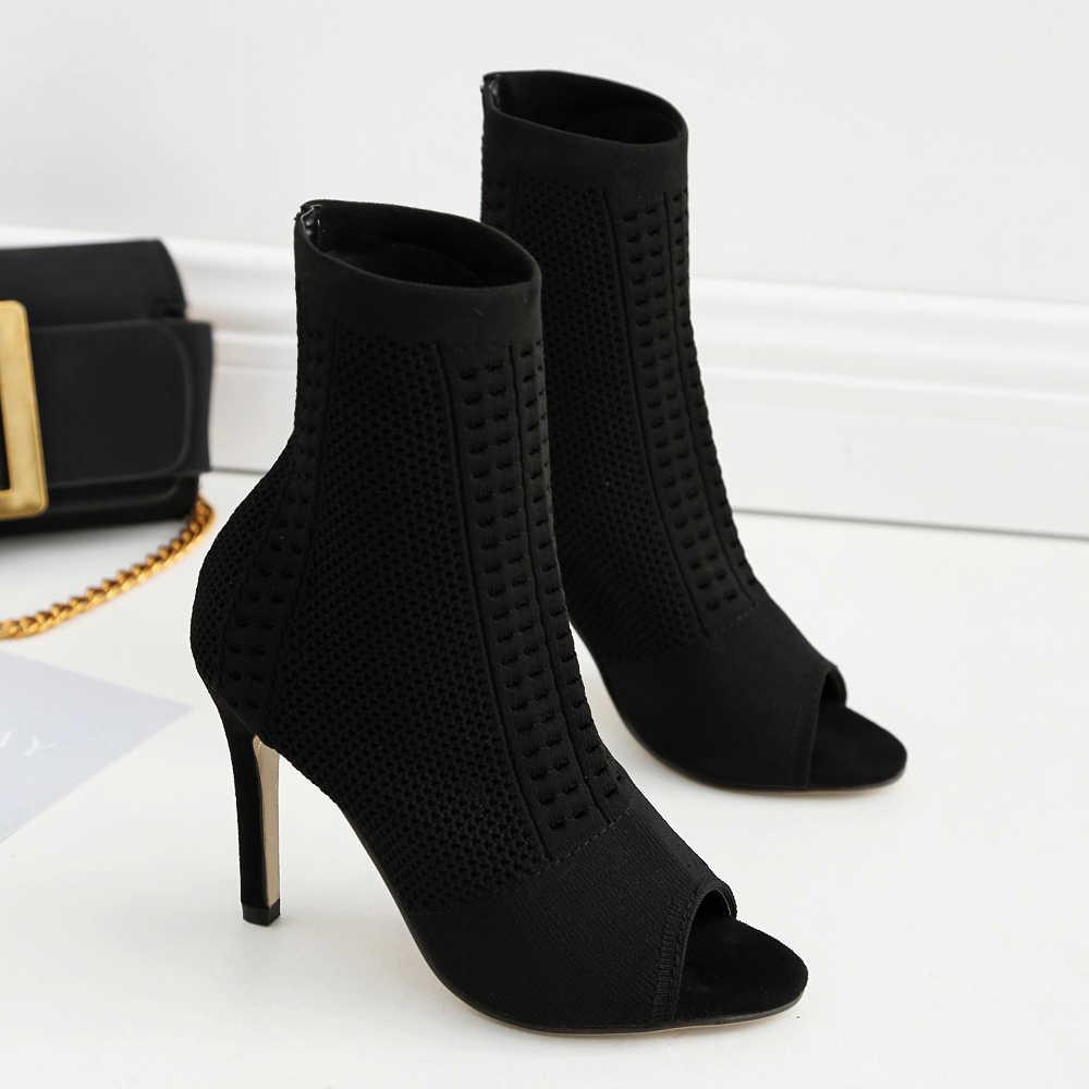 Ботильоны для женщин; вязаная женская обувь на высоком каблуке с открытым носком; Женские Дышащие Короткие ботинки; повседневная женская обувь; ботинки-носки