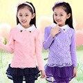 New Kids Otoño Invierno Niñas Imprimación Suéter de Los Niños Del Algodón Blusa de Encaje Camiseta Delgada y Espesar Color