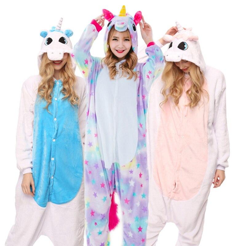 Erwachsene Tier Kigurumi Pyjamas Sets Nachtwäsche Cosplay Zipper Frauen Männer Winter Unisex Panda Stich Cartoon Einhorn Pyjamas