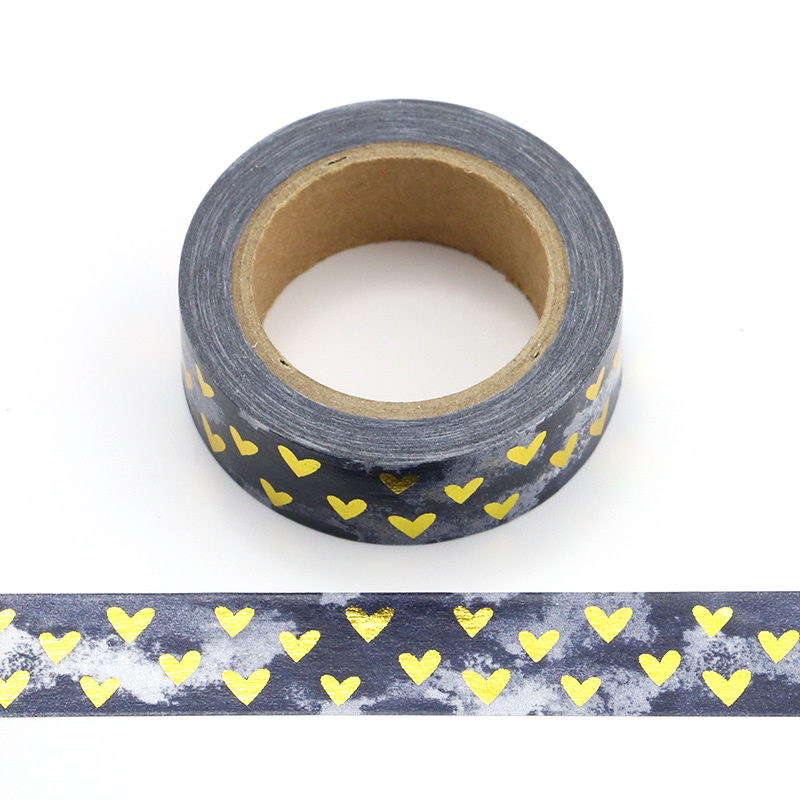 1pcS Heart Foil Washi Tape Japanese Paper 1 5cm 10m Kawaii Scrapbooking Tools Masking Tape Xmas Photo Album Diy Decorative Tapes in Office Adhesive Tape from Office School Supplies