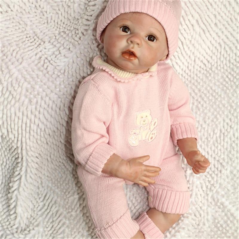 55cm/22 Lifelike Vivid Reborn Girl Dolls Silicone Vinyl Handmade Baby Doll Realistic Play Toy Collection 55cm 22 handmade lifelike baby silicone vinyl realistic reborn toddler dolls girl play toy collection