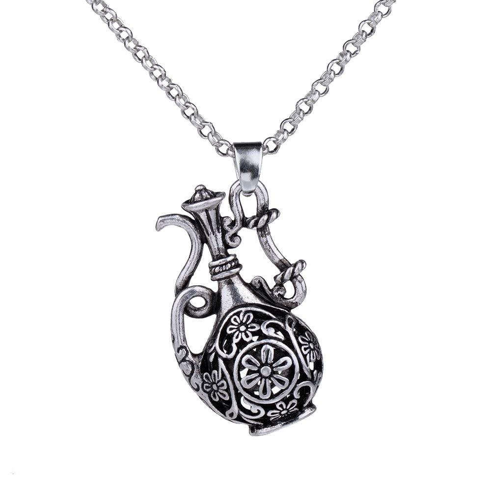 Mythic yaş antik gümüş renk hollow 3d şişe flagon sürahi kolye kostüm uzun zincir vintage kadınlar için kolye takı