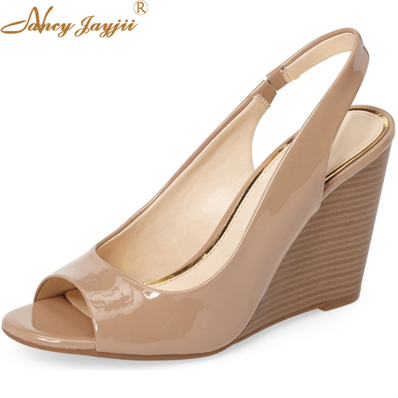 93642e407251 Nude Wedges Slingback Leather Pumps High Heels Ankle Elastic Brand Casual  Party Autumn Sandals Shoes Size