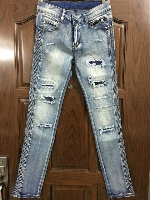 25693c27740 NWT BP Men's Stylish Fashion Stretch Distressed Light Blue Washed Biker  Jeans Size 28-42 (#956),Epacket Fast Free Shipping
