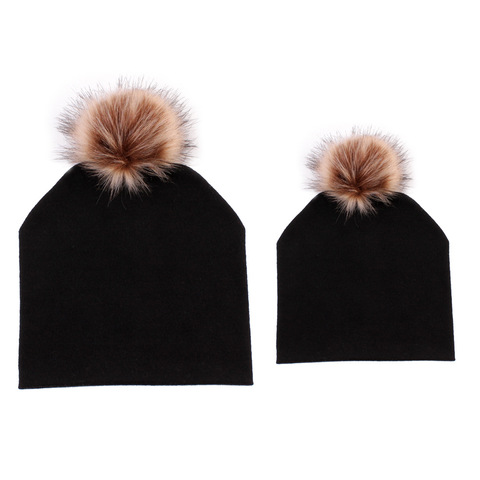 Mommy and Baby Hat Winter Warm Women Kids Cotton Hat Caps Mink Fur Ball Pompom Bobble Hat Mom and Me Matching Beanie Hats Multan