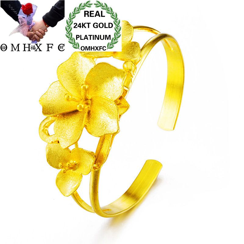OMHXFC Wholesale European Fashion Woman Girl Party Wedding Gift Vintage Flower 24KT Gold Open Bangles Bracelets BE132OMHXFC Wholesale European Fashion Woman Girl Party Wedding Gift Vintage Flower 24KT Gold Open Bangles Bracelets BE132
