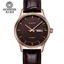 2016 ochstin por tiempo limitado hombres reloj mecánico montre homme para hombre relojes de lujo superior de la marca de cuero mujeres automáticas del reloj hora