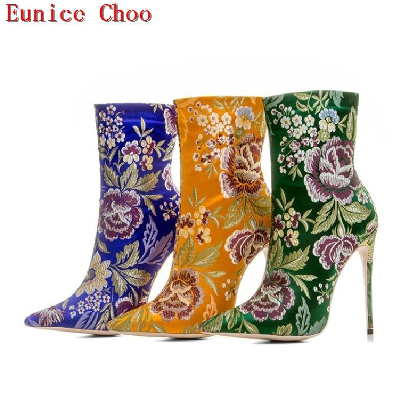 Courtes b Mince A Feminina Bota Bottes Talons Choo Eunice Haute Pointu Soie Cheville Bout Hiver Femmes Imprimer Fleur Pour Automne c HEwqUTgf