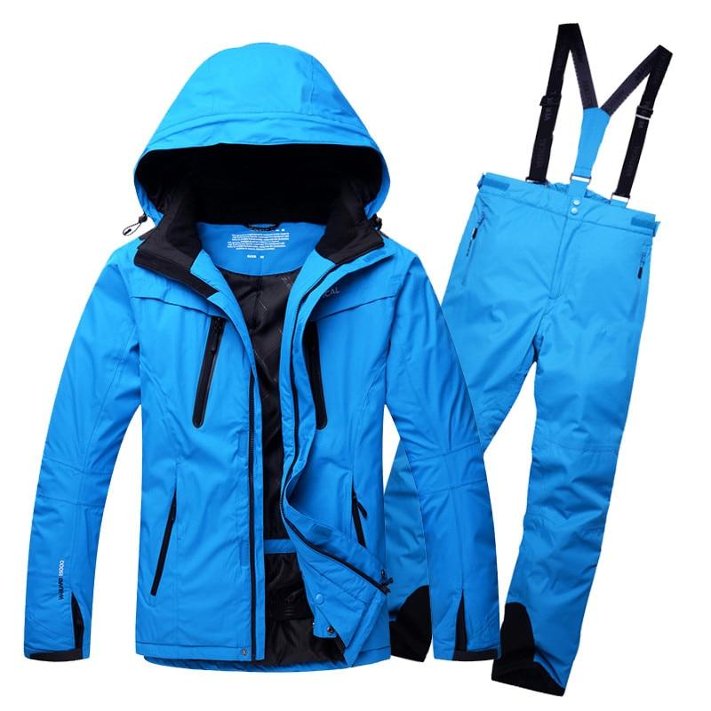Livraison Gratuite Hommes de Coupe-Vent Imperméable Vêtements de Plein Air Camping Équitation Ski Snowboard Super Chaud Veste + Pantalon Ensemble Hommes Ski costume