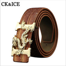 2017 Belt Men PU Leather Luxury Strap Male Belts For Men High Quality Business Leisure Smooth buckle Golden Dragon buckle Jeans