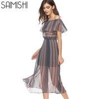 Saimishi Fashion 2018 Summer Striped Pattern Midi Dress Ruffles Women Beach Chiffon Dress Sexy Off The