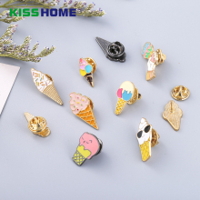 Cartoon Enamel Pins Couple Brooch Accessories Ice-cream Drop Oil Brooches Mini Coffee Badge Cafe Gift for Lovers