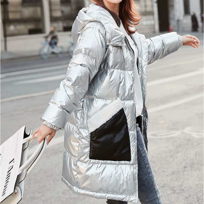 Patent Leather Glossy Womens Winter   Down   Jacket Fashion Fur Pocket Design Hooded Long   Down     Coats   2019 New Arrival Warm Parkas