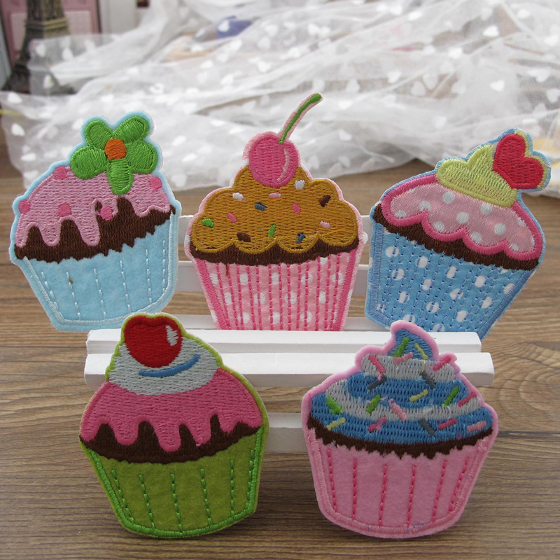 5 Pieces Icecream Cupcake Embroidered Patch for Clothing Iron on Sew Applique Cute Patch Fabric Badge Garment DIY Accessories