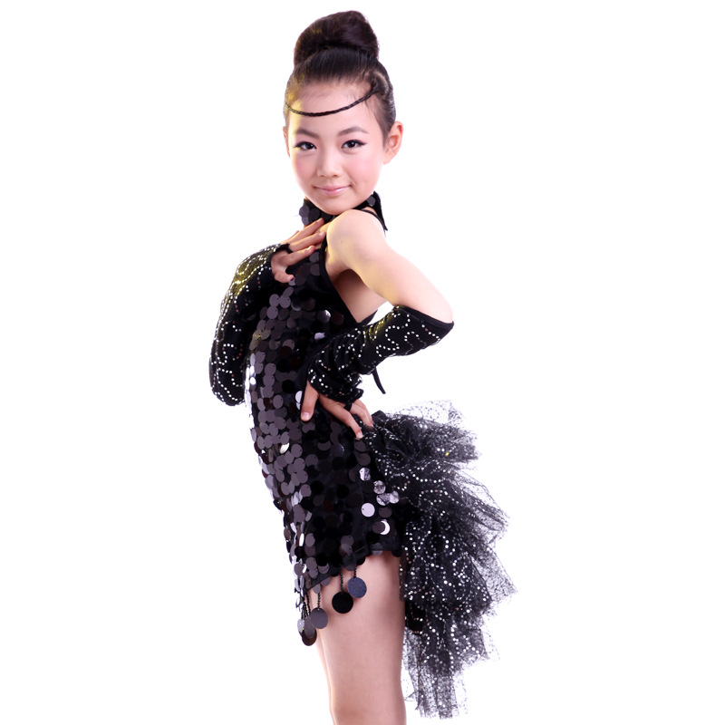 New 2016 Children Kids Sequin Lace Stage Performance Competition Ballroom Dance Costume Latin Dance Dress for Girls