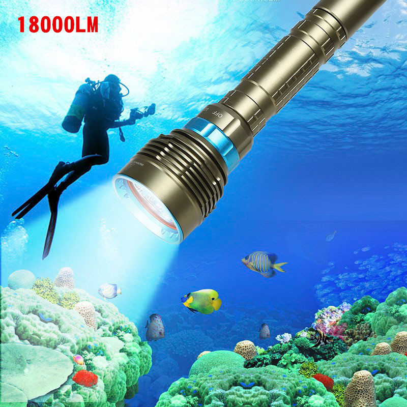 AKDSteel 18000LM 7 XML-T6/15000LM XML-T6 LED Strong Light Diving Flashlight Torch Underwater Waterproof Light Tactical Lantern lumiparty 18000lm 7 xml t6 15000lm xml t6 led dive torch 200m underwater waterproof tactical led flashlights lantern lamp