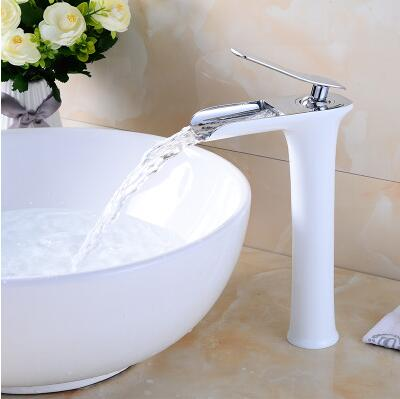 fashion top high quality chrome and white brass single lever Hot and Cold bathroom high sink waterfall faucet basin tap