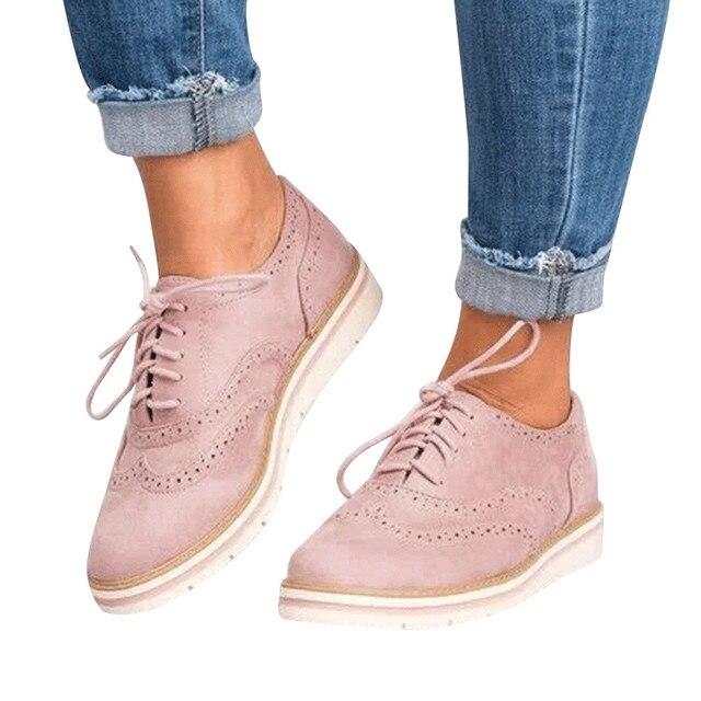 Delle Donne di modo Casual Scarpe Traspirante Slip-On Stabilità Punta Rotonda di Colore Solido Caviglia In Pelle Scamosciata Piatto Lace Up Scarpe Sportive più il Formato
