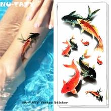 Nu-TATY Koi Carp Fish 3d Temporary Tattoo Body Art Flash Tattoo Stickers 19x9cm Waterproof Styling Tatoo Home Decor Wall Sticker