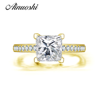 AINUOSHI 14K Solid Yellow Gold Engagement Ring Pave Setting Princess Cut Simulated Diamond Wedding Promise Ring Gift for Women