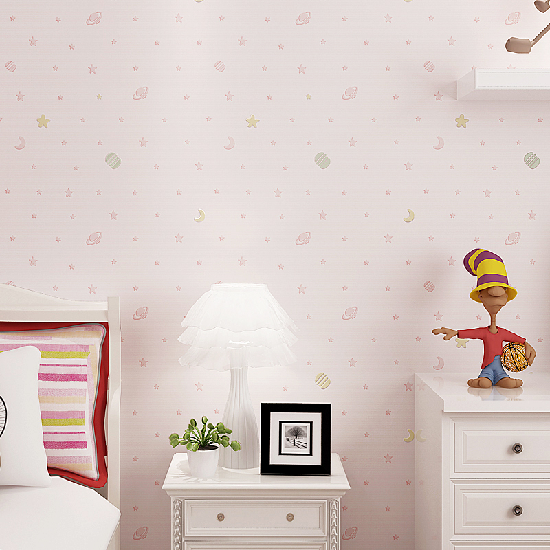 Children's Room Non-Woven Wallpaper 3D Cartoon Star Clouds Boys And Girls Bedroom Eco-Friendly Flocking Wall Paper 3D Home Decor non woven luminous wallpaper roll stars and the moon boys and girls children s room bedroom ceiling fluorescent home wallpaper