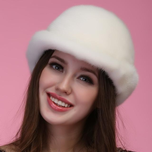 2016 otoño invierno botas de nieve caliente Super espectáculo las mujeres rex visón blanco de piel de estilo Ruso sombrero de piel casquillo de la señora luxur precioso pelo de piel