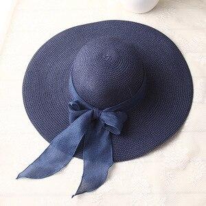 Image 4 - Chapéus de sol femininos uspop, chapéus de palha feitos à mão para mulheres, fita de laço, aba larga, chapéu de praia, casual, verão tampa anti uv da sombra