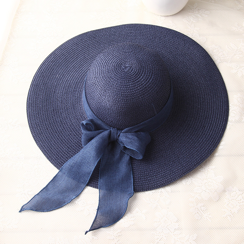 Image 4 - USPOP  fashion women sun hats hand made straw hat female ribbon bow knot wide brim beach hat casual summer shade anti uv capuv capbeach hatfashion beach hat -