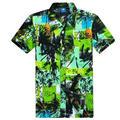 Hombres de la Camisa hawaiana 2017 Nuevas Llegadas de Manga Corta Camisas de Playa Masculino L-4XL (Tamaño de Asia)