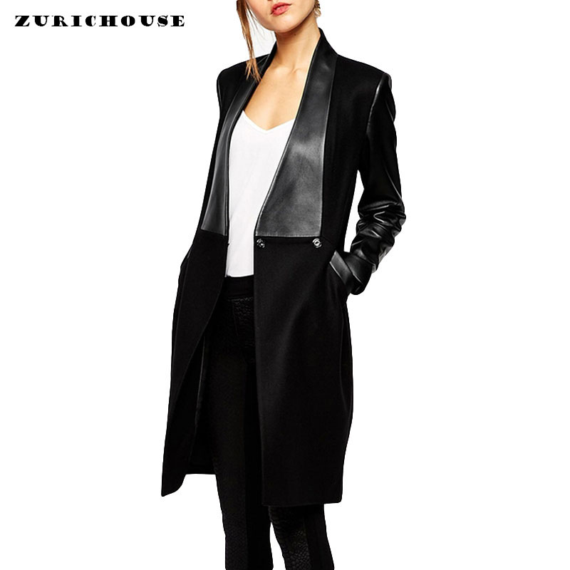Fashion PU   Leather   Sleeve Patchwork Cardigan Women Trench Coat 2019 New Spring Slim Long   Leather   Jacket Woman Blend Coat