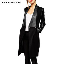 ZURICHOUSE PU Leather Sleeve Patchwork Cardigan Women Trench Coat 2019 New Spring Slim Leather Jacket Woman Long Blend Coat(China)