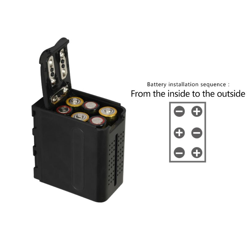 BB-6 6pcs AA Battery Case Pack Battery Holder Power As NP-F NP-970 Series Battery For LED Video Light Panel / Monitor F42D